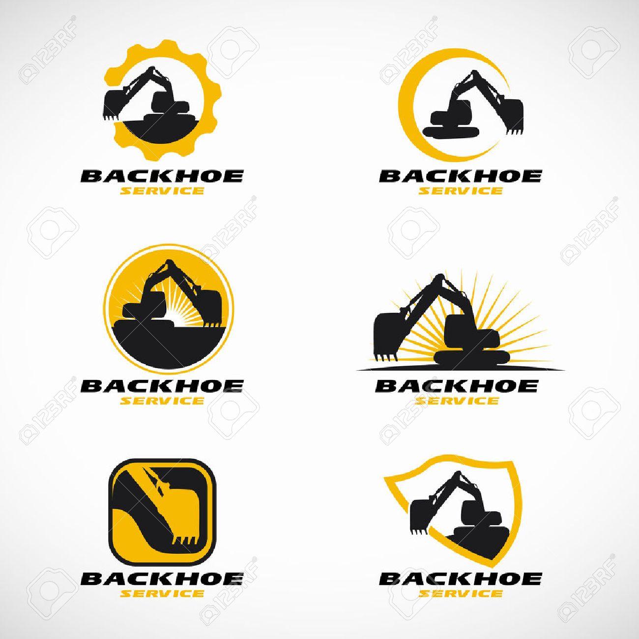 Yellow and black Backhoe logo vector set design.