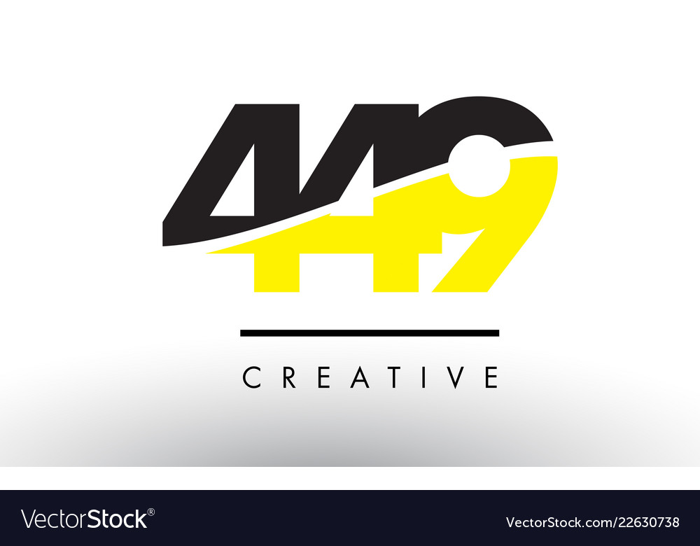 449 black and yellow number logo design.
