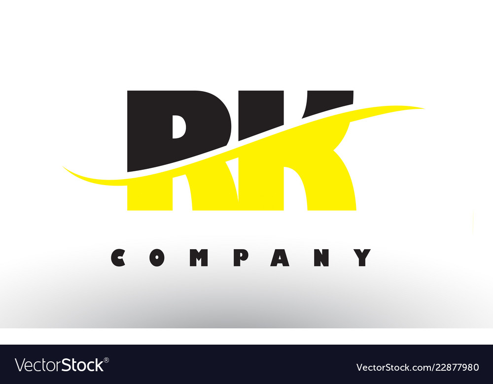 Rk r k black and yellow letter logo with swoosh.