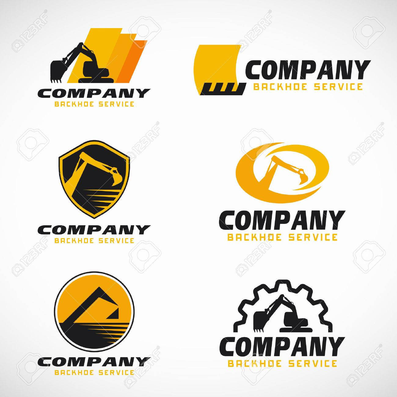 Yellow and black Backhoe service logo vector set design.
