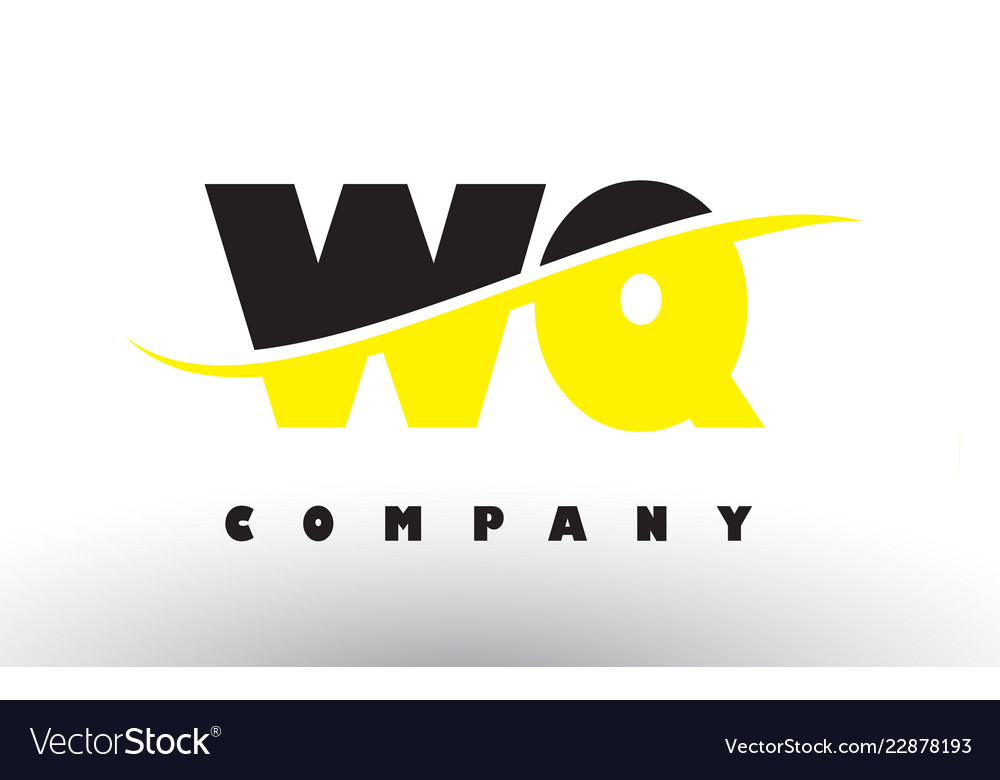 Wq w q black and yellow letter logo with swoosh.
