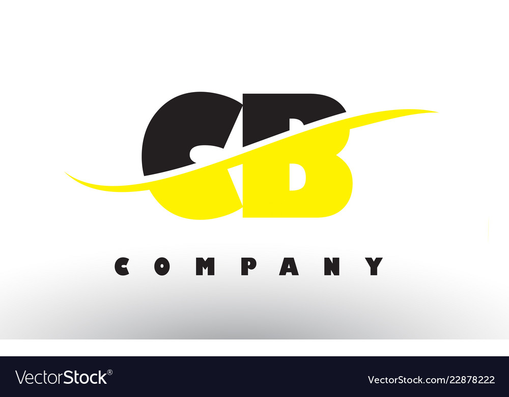 Cb c b black and yellow letter logo with swoosh.