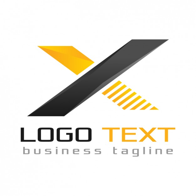 Letter x logo, black and yellow colors Vector.
