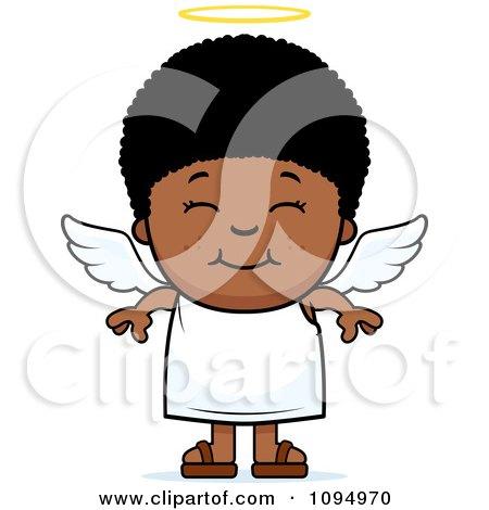 Clipart Smiling Black Angel Boy.