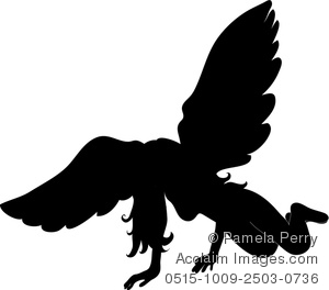Clip Art Silhouette of a Fallen Angel.