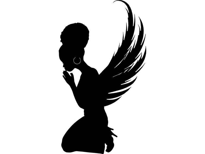 Black Angel Praying Silhouettes Nubian Princess Queen Afro Hair African  Female Lady SVG .EPS .PNG Vector Clipart Digital Circuit Cut Cutting.
