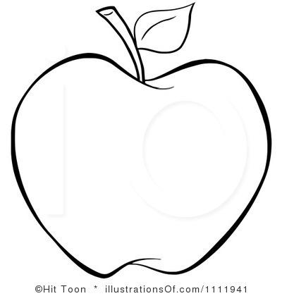Black And White Apple Clipart.