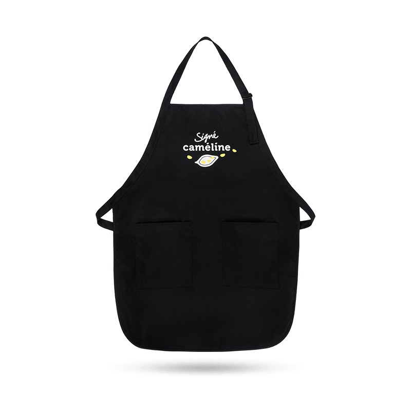 Black apron Signé caméline.
