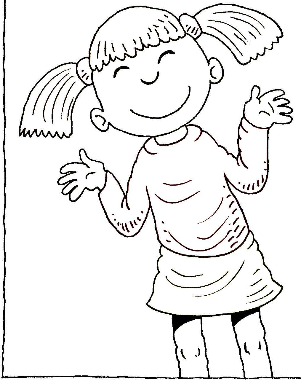 Happy Kid Clipart Black And White.
