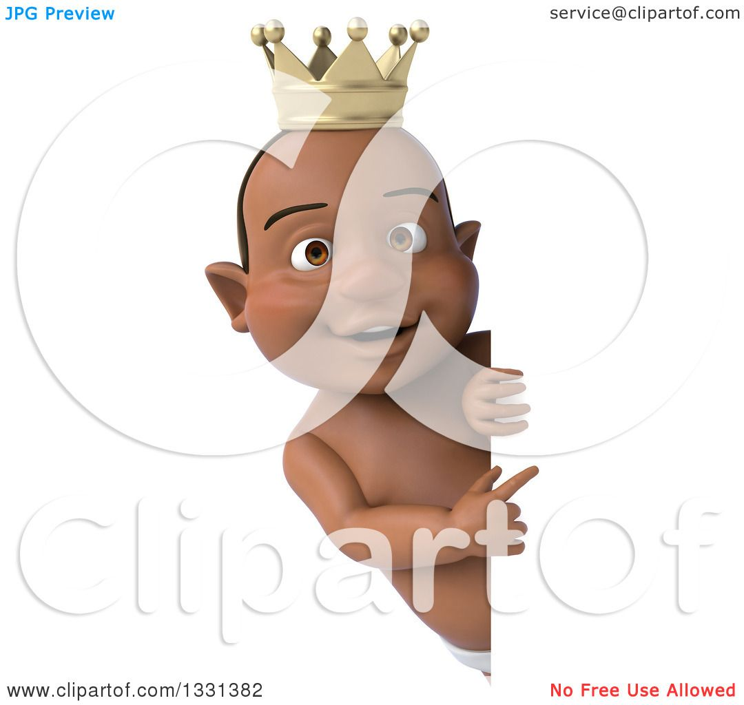 Clipart of a 3d Black Baby Boy Wearing a Crown and Pointing Around a.