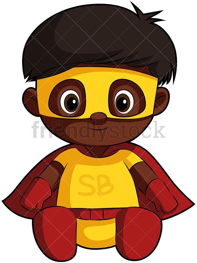 A Cute Black Baby In A Superhero Costume.