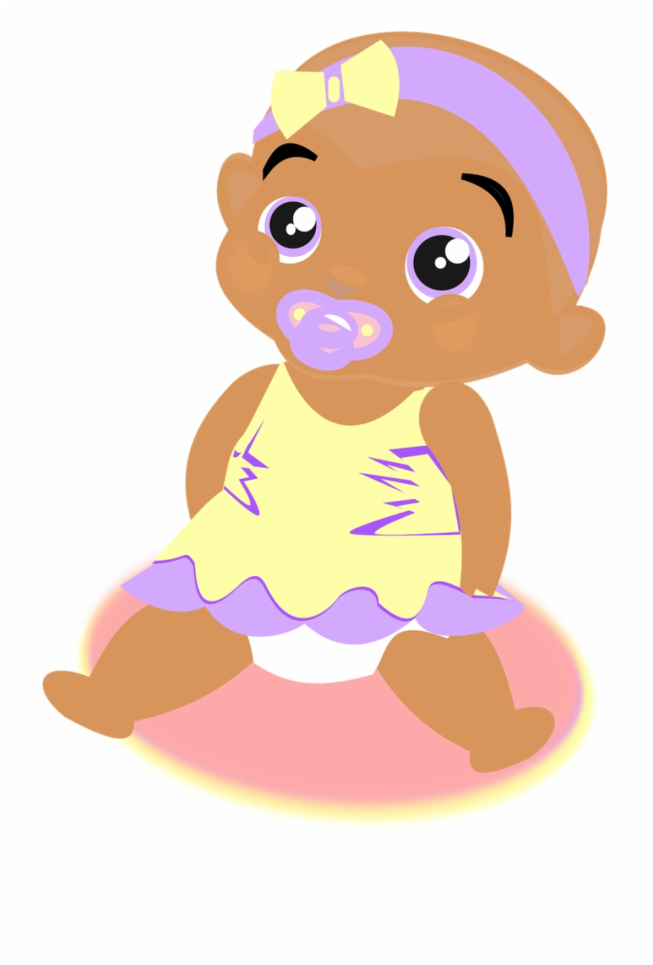Baby Girl Dress Ribbon Soother Png Image.