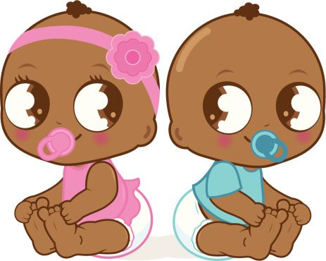 Cute African American baby girl and boy vector art illustration.