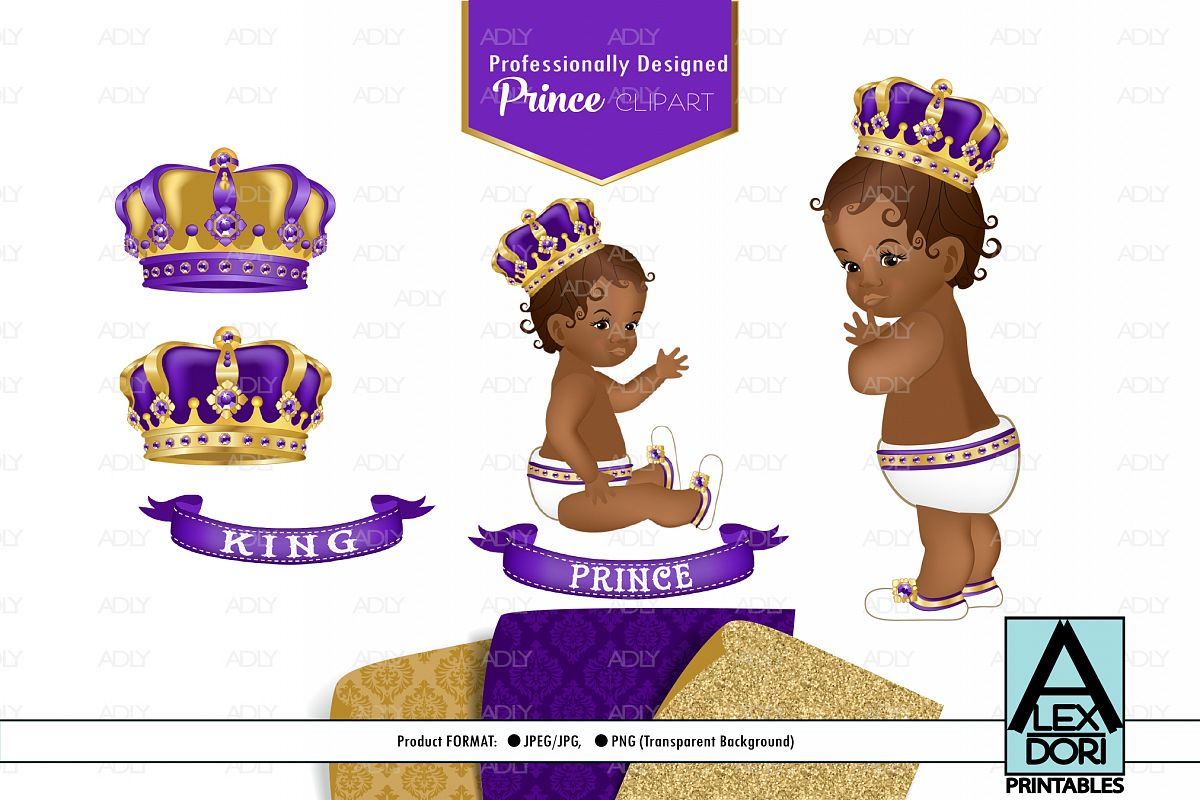 Purple Gold Baby Boy Prince, SET OF PNG, Royal Clipart.