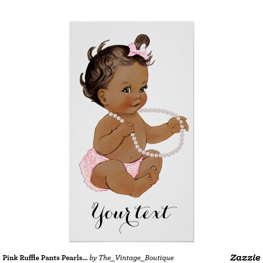Pink Ruffle Pants Pearls Ethnic Girl Baby Shower Poster.