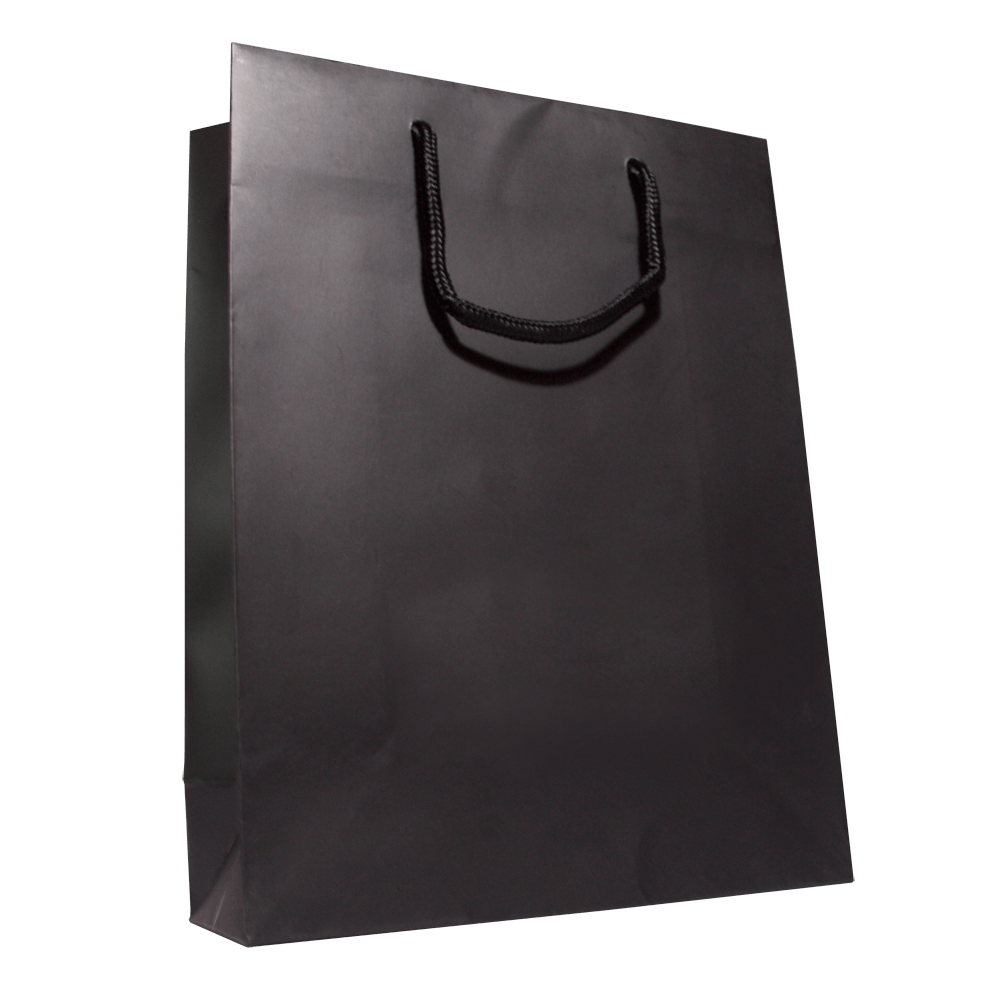 Plain Black Shopping Bag transparent PNG.