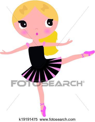 Cute posing beautiful black Ballerina girl Clipart.