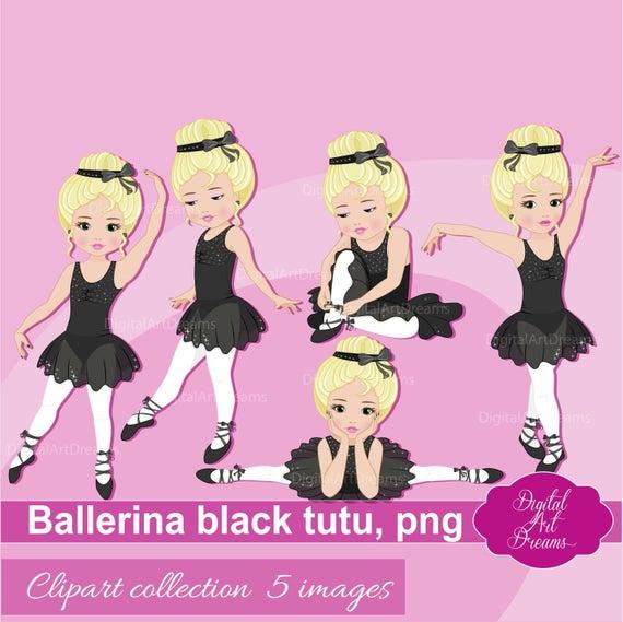 Ballerina Clipart, Little Girls Clip Art, Cute Characters Graphics, Black  Tutu Dress, Blonde Girl Ballet, Ballerina Printables, Dance Images.