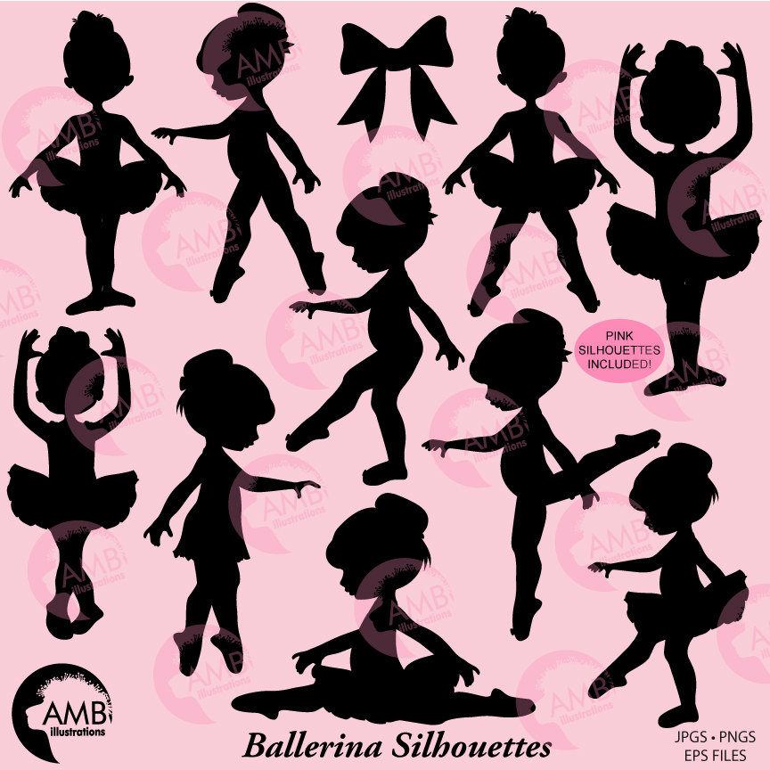 Ballerina Silhouette clipart, Ballet Silhouettes Vectors in Pink.