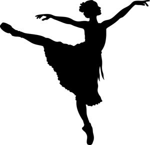 Ballerina Clipart Image: A silhouetted ballerina stretching her arms.