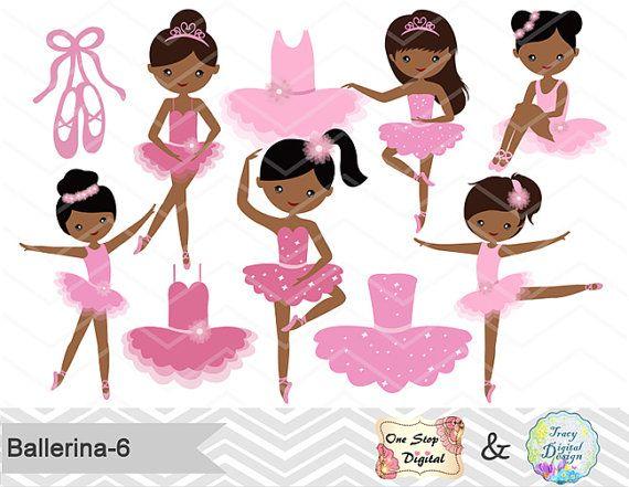 African American Ballerina Digital Clip Art, Ballet Clipart, Pink.