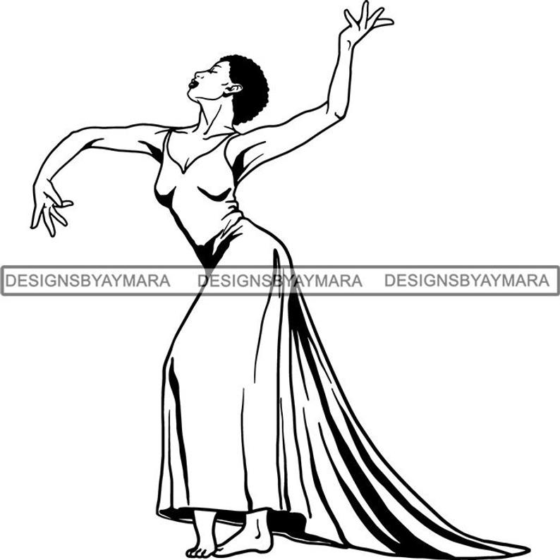 Black Ballerina Classy Afro Ballet Dancer African American Woman Elegance  .SVG .EPS PNG Vector Clipart Circuit Cricut Silhouette Cut Cutting.