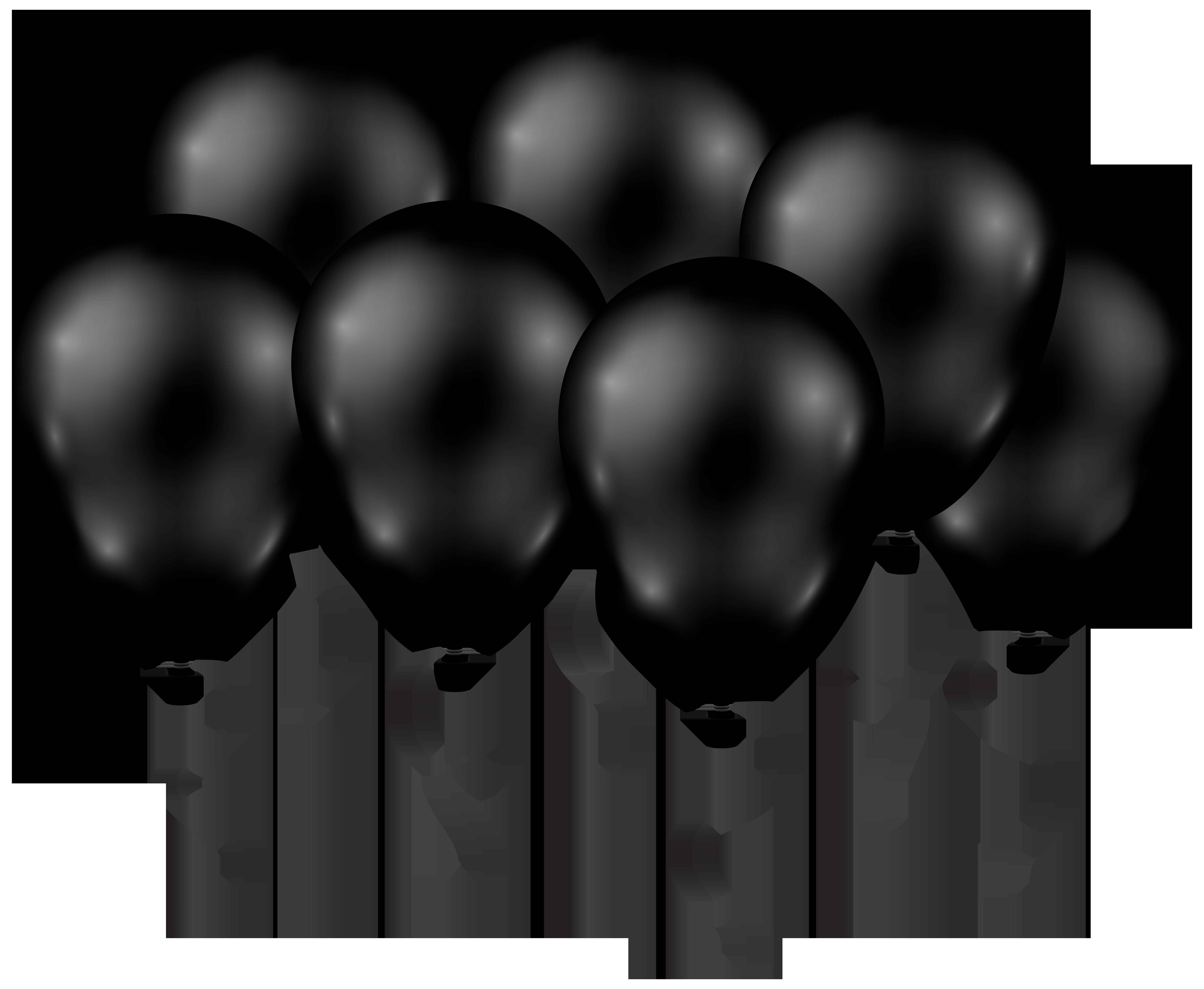 Black Balloons Transparent PNG Clip Art Image.