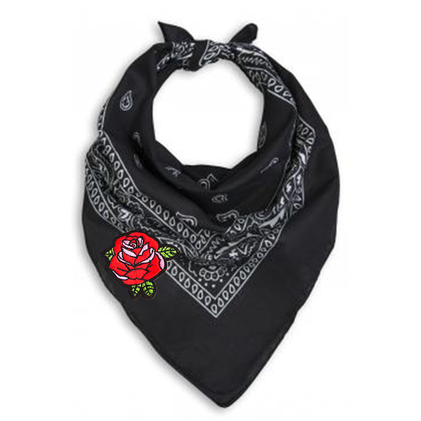 Black Bandana Neck Scarf with Red Rose Embroidered Patch.