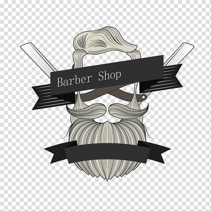 Gray, white, and black barber shop sign illustration, Logo Barber.