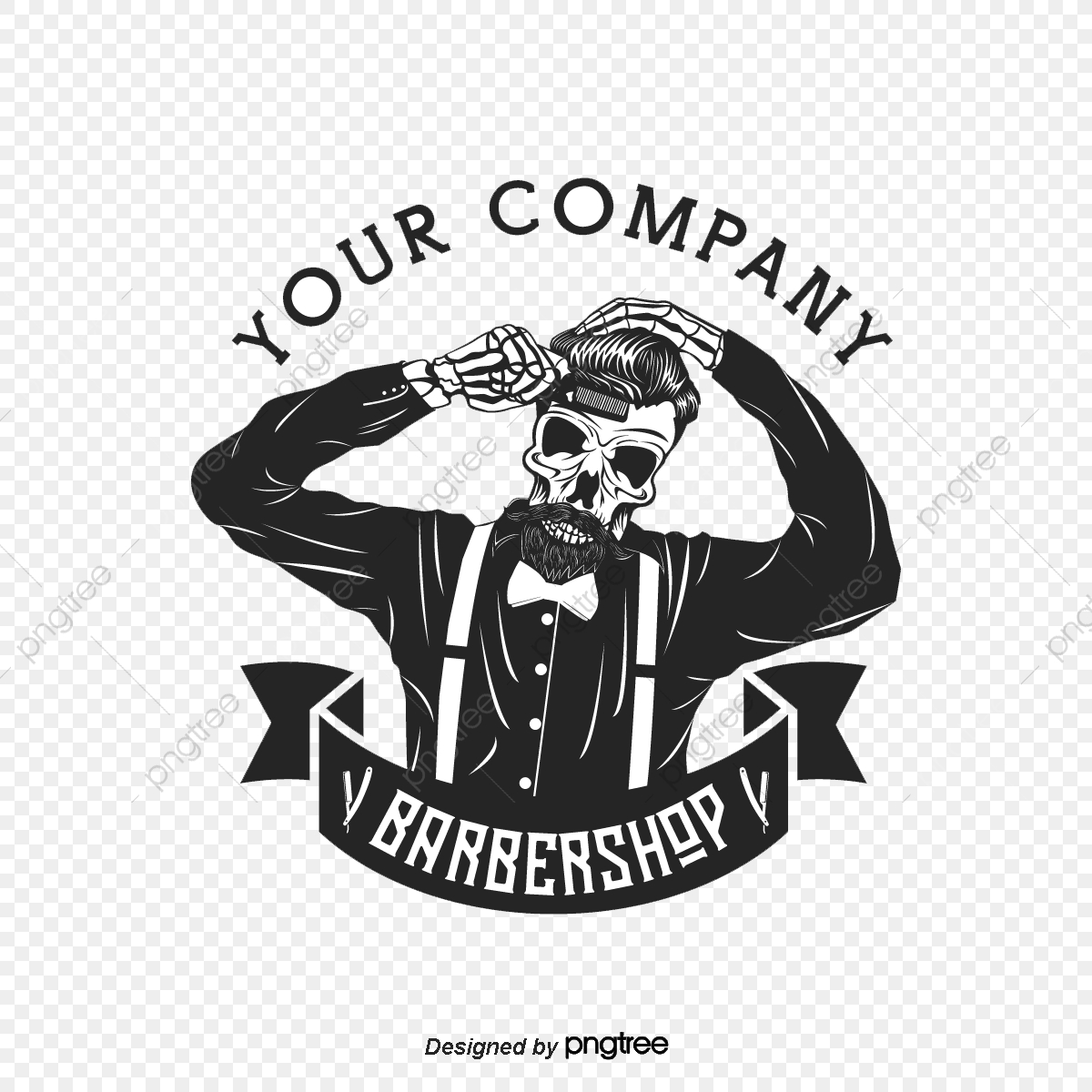 Black Barbers Logo Icon, Character, Element, Company PNG Transparent.