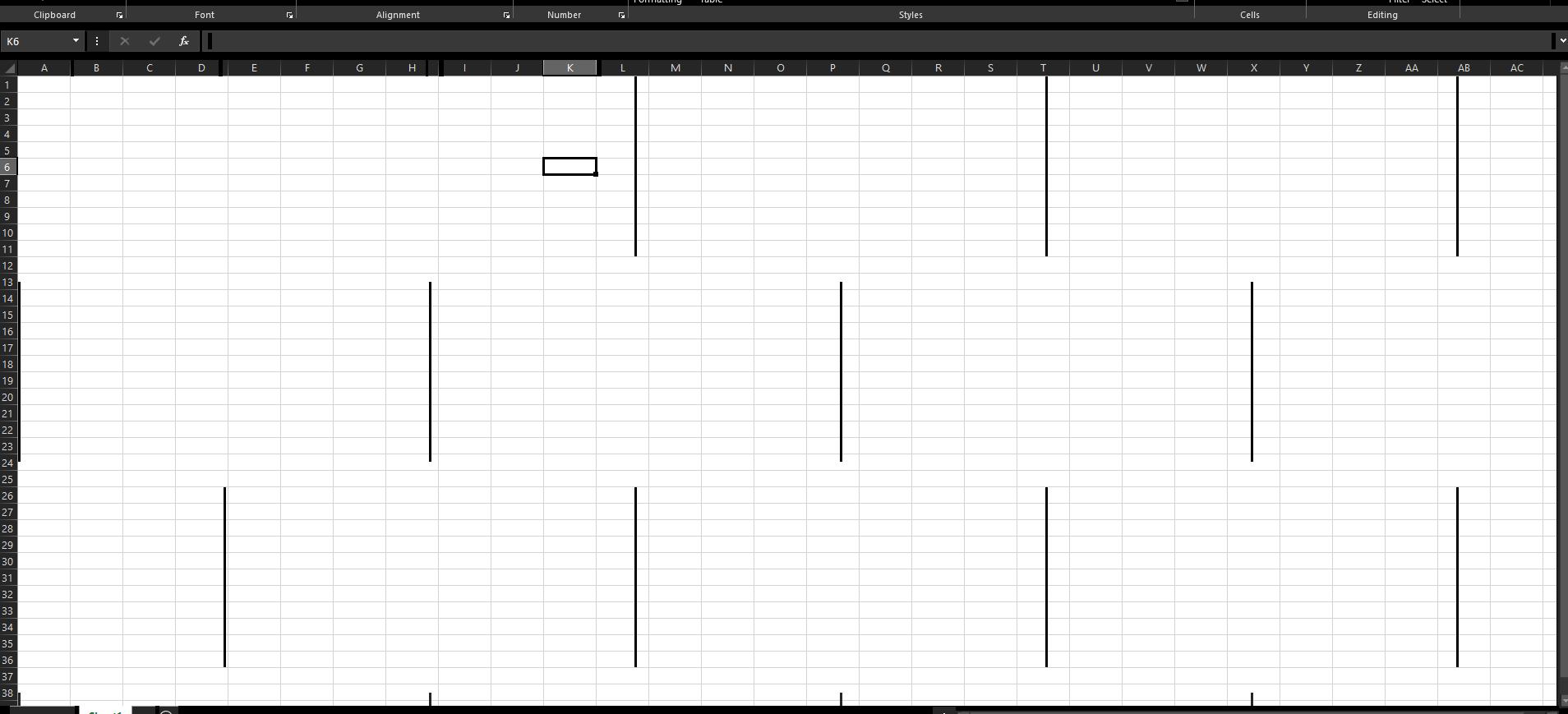 Excel random black bars error.