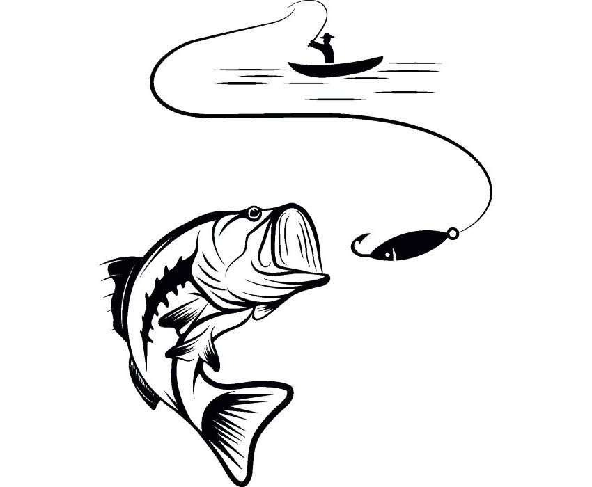 Bass Fishing #4 Logo Angling Fish Hook Fresh Water Hunting.