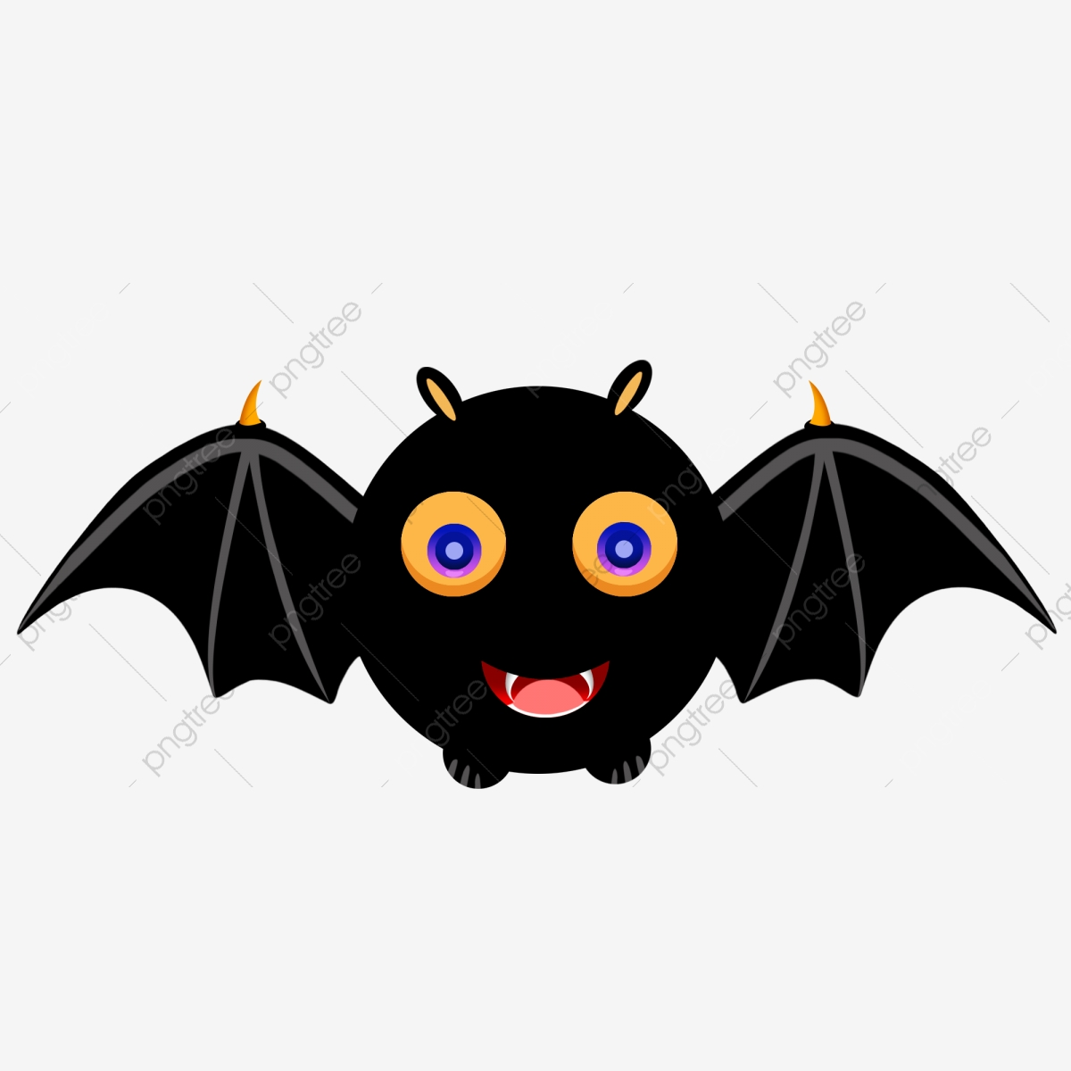 Cartoon Halloween Black Bat Auspicious Animal Wings Element, Cartoon.