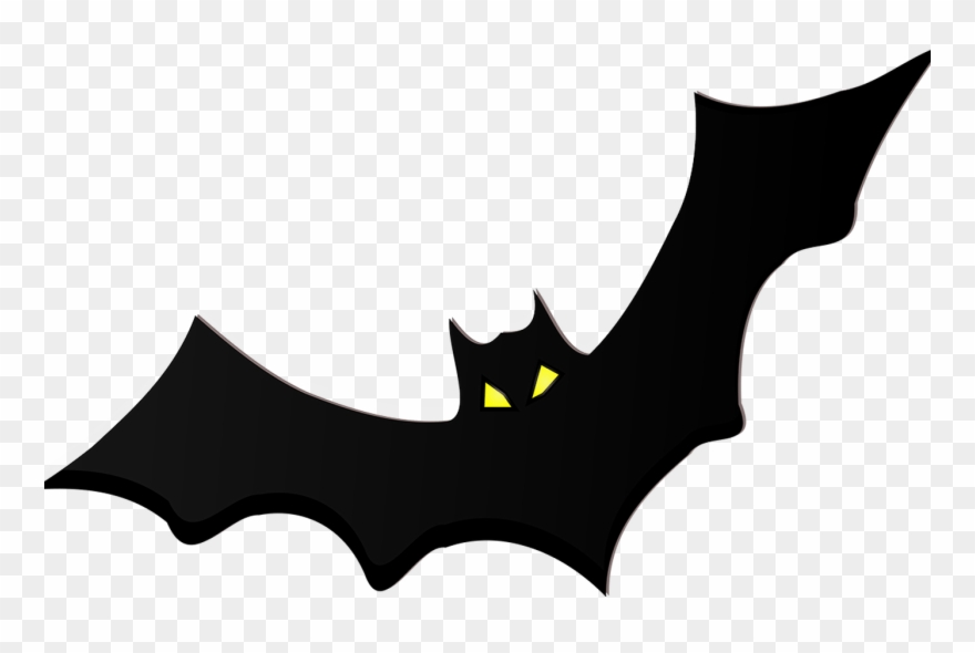 Black Bat Silhouette Yellow Eyes Png.