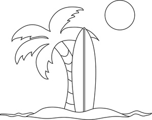 Clipart palm tree beach black and white.