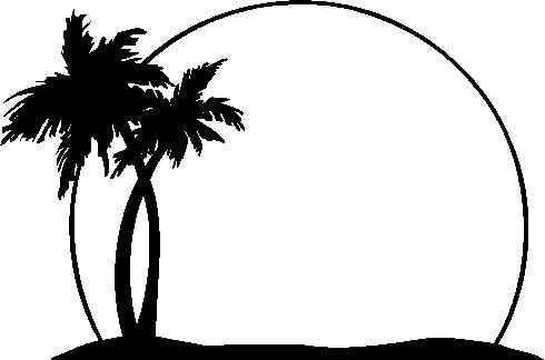 Palm Trees On The Beach Clipart.