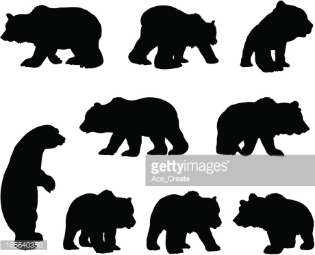 brown bear cub outline clipart