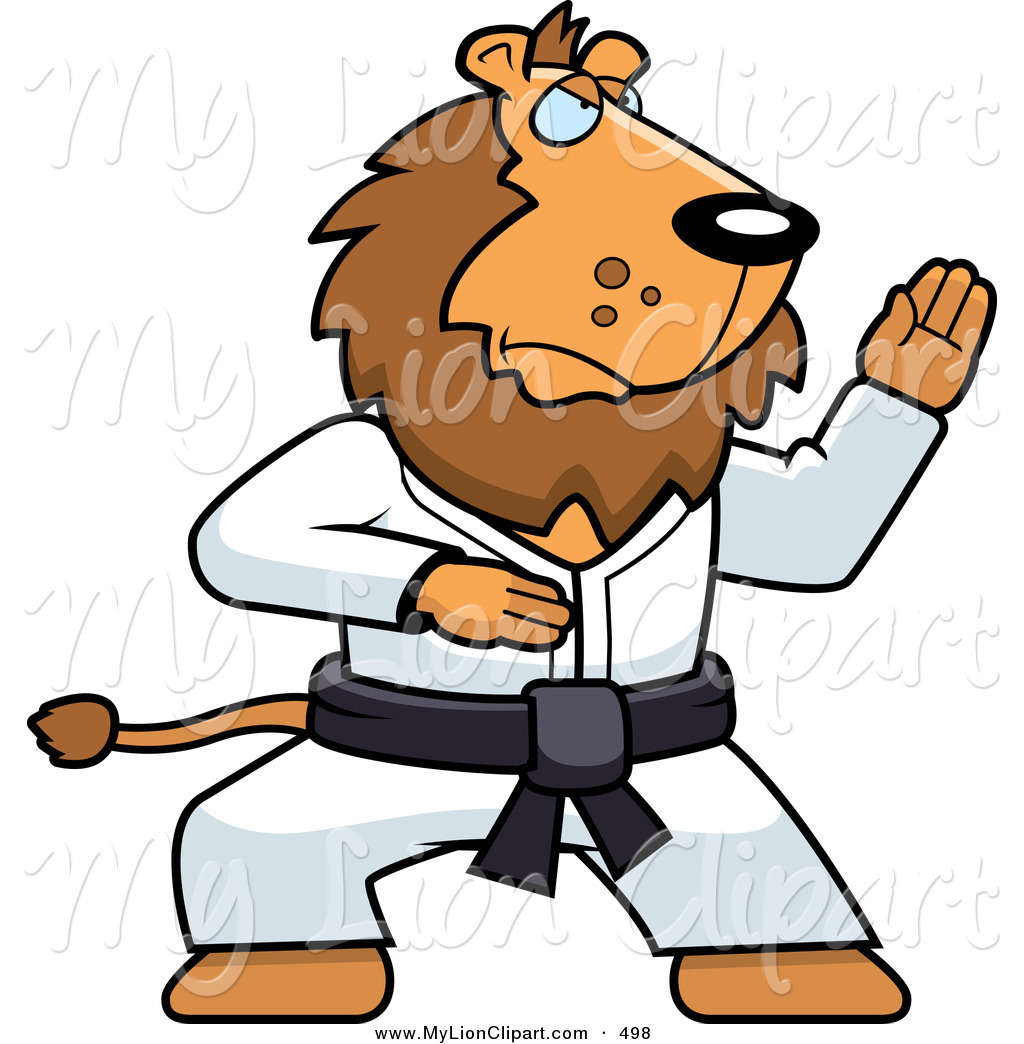 Clipart of a Karate Lion with a Black Belt by Cory Thoman.