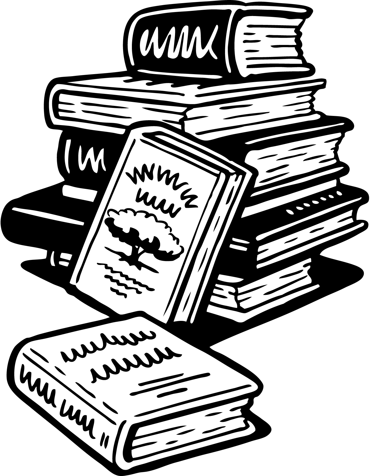 Book black and white stack of books clipart.