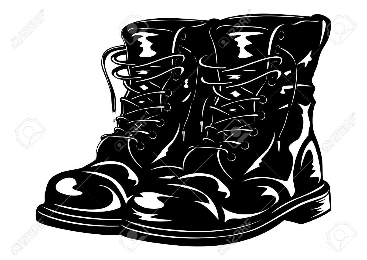 Combat Boots Clipart Black And White.