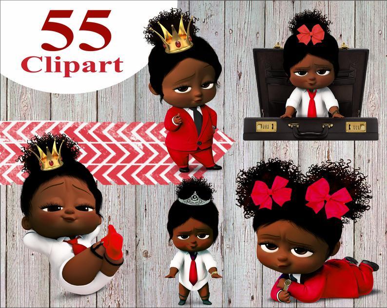 African American Girl Boss Baby Clipart, Boss Baby Girl, instant download,  Boss baby clipart, boss baby african png.