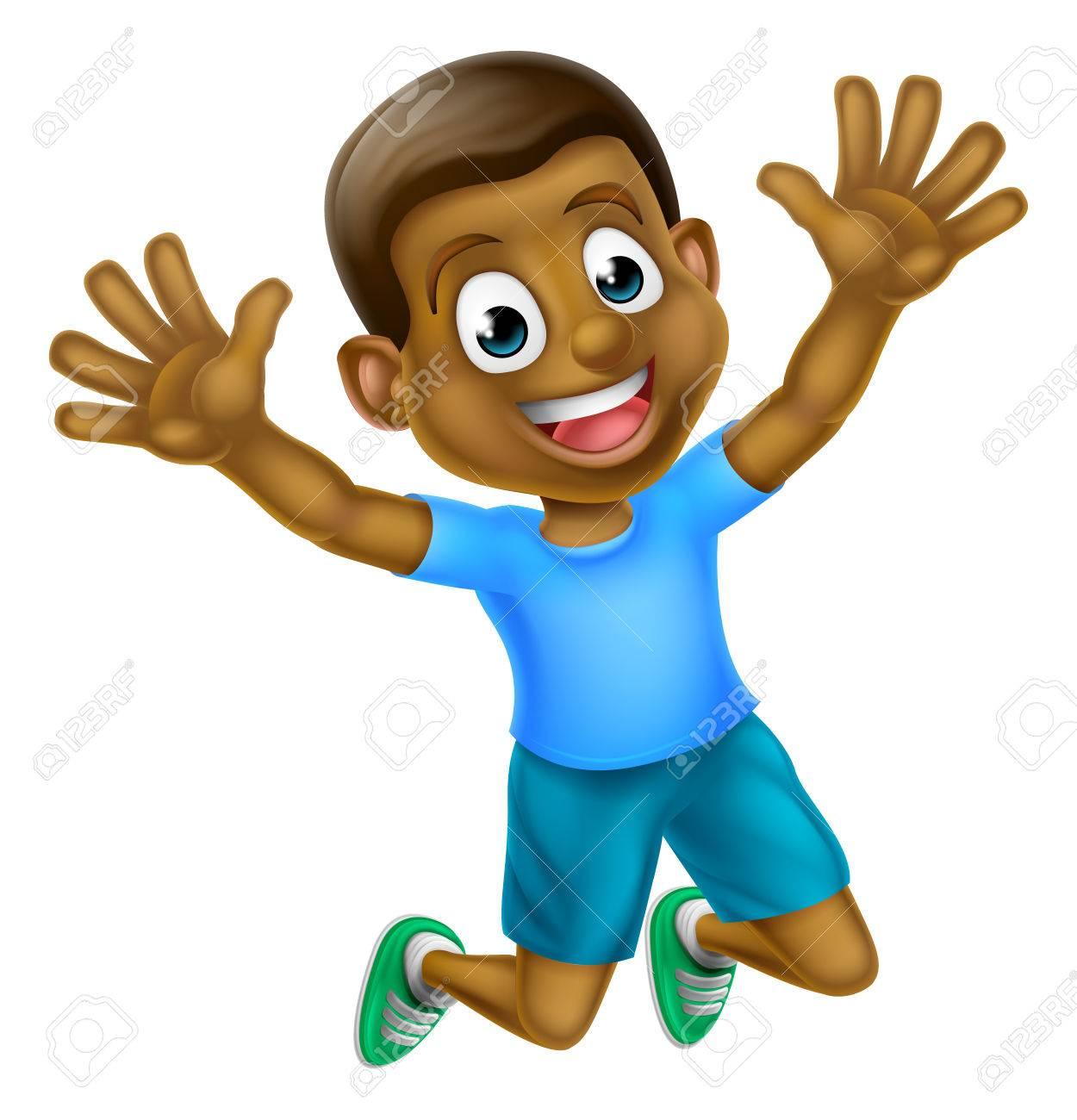 A happy cartoon young black boy jumping for joy..