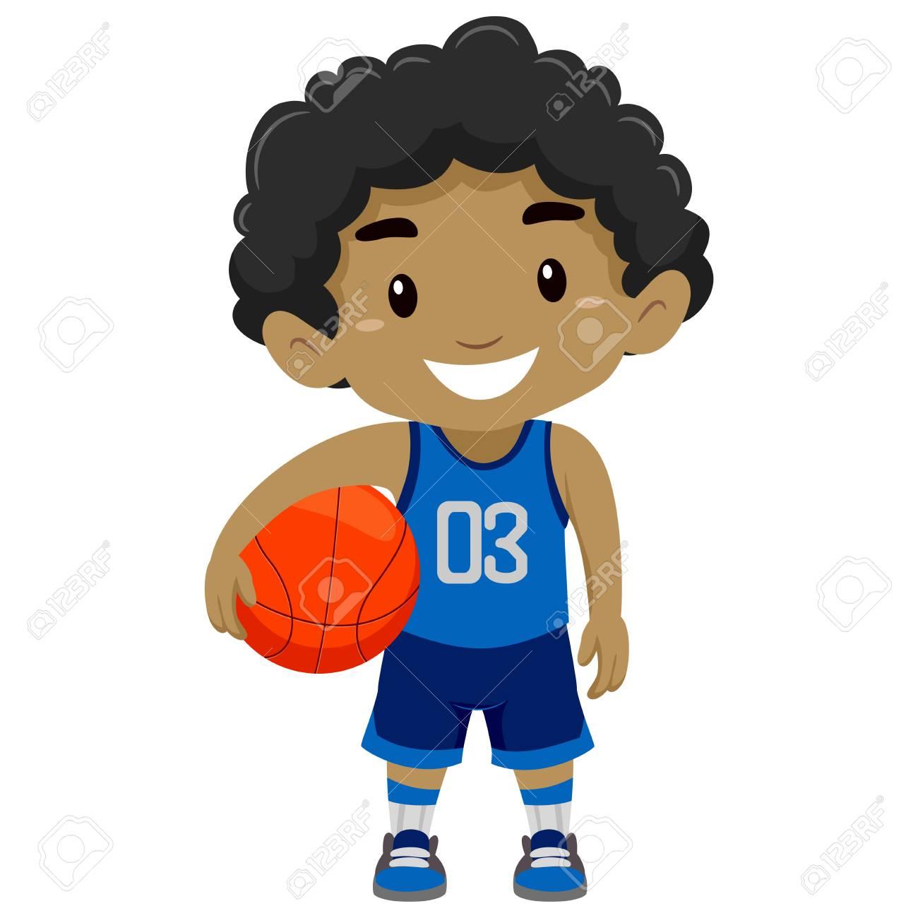 Vector Illustration of a Black Boy Holding Basketball.