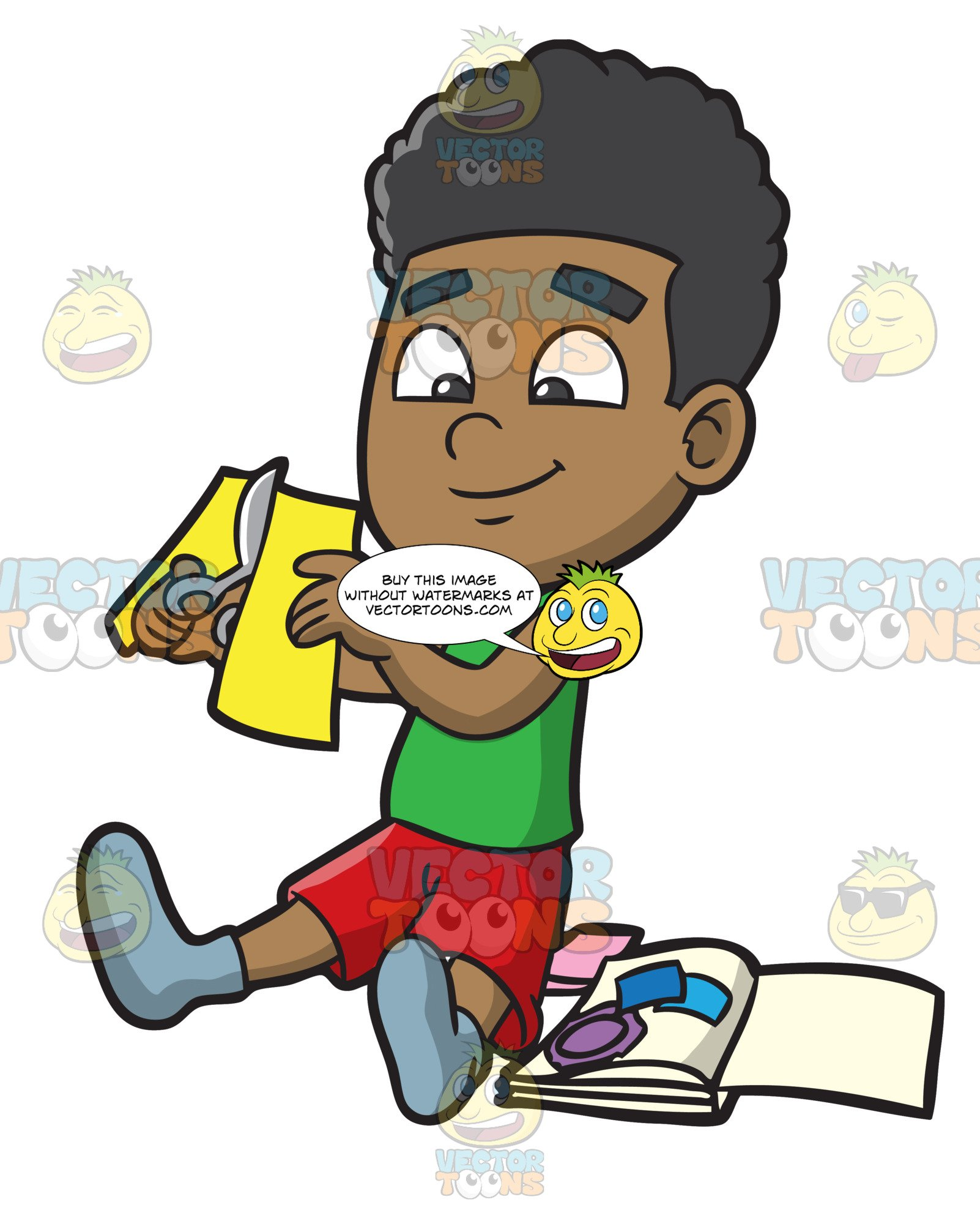 A Black Boy Cutting Paper For Scrapbooking.