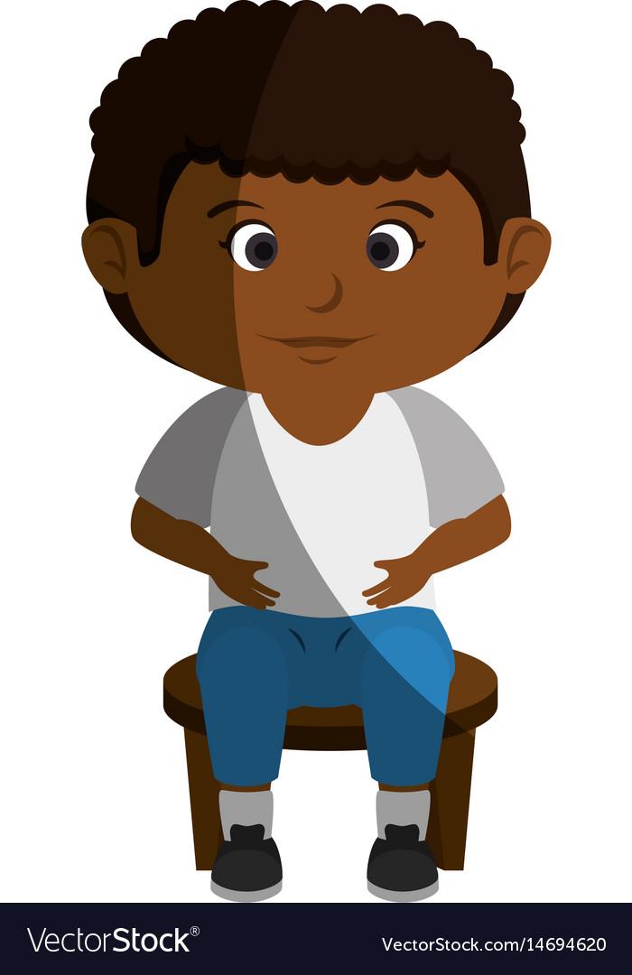 Happy little black boy character.