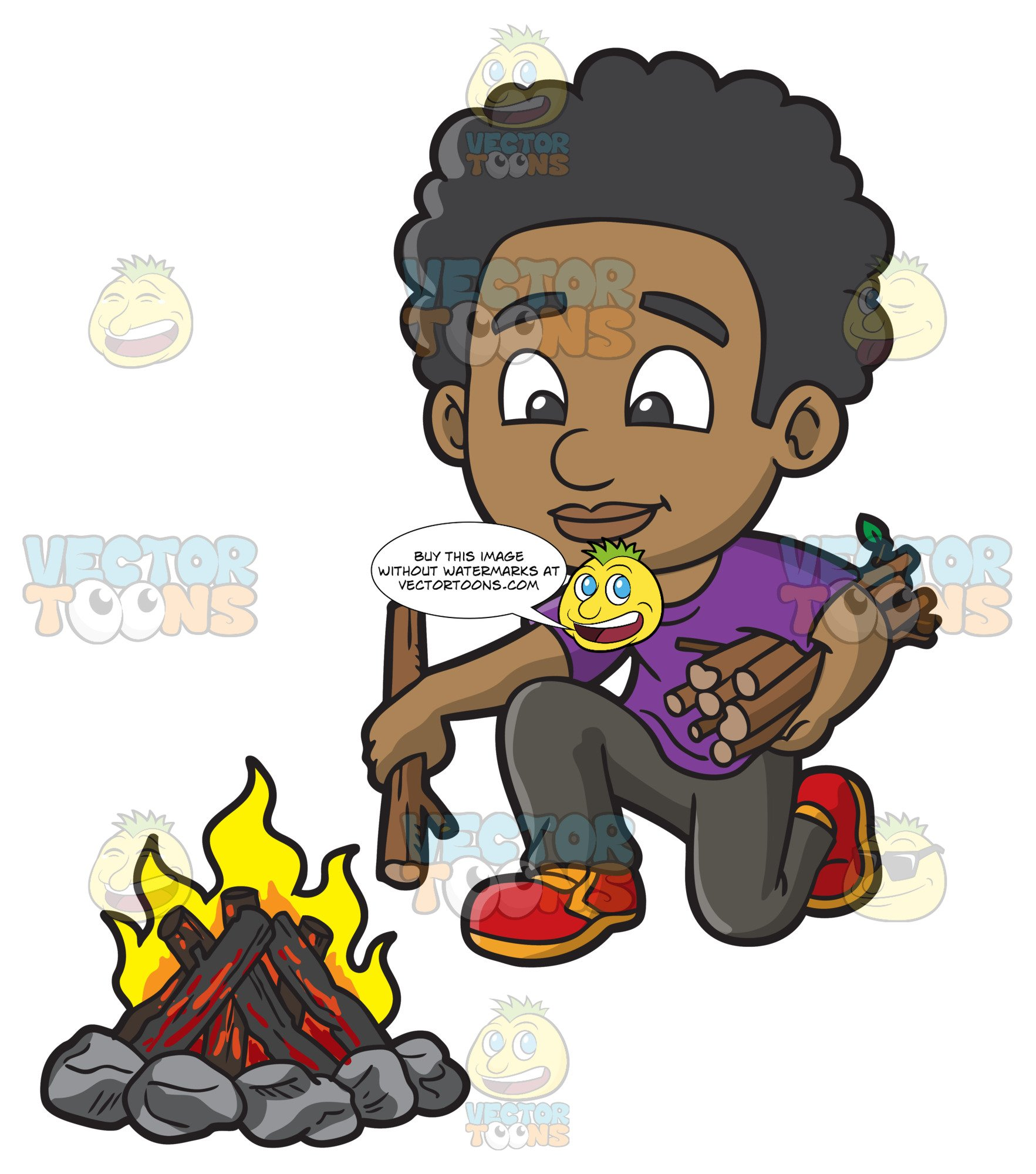 A Black Boy Placing More Wood Onto The Campfire.
