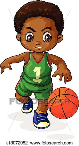 A young Black boy playing basketball Clipart.