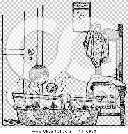 Clipart of a Retro Vintage Black and White Boy Taking a Bath.