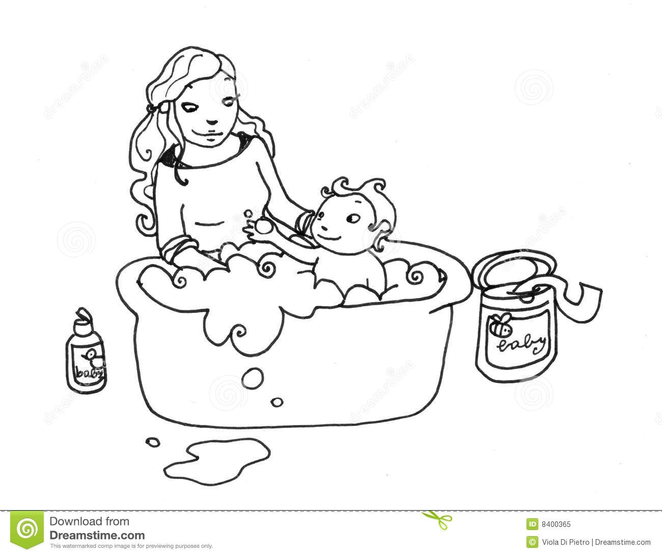 Bathroom Clip Art Black And White: Black Boy Take A Bath Clipart