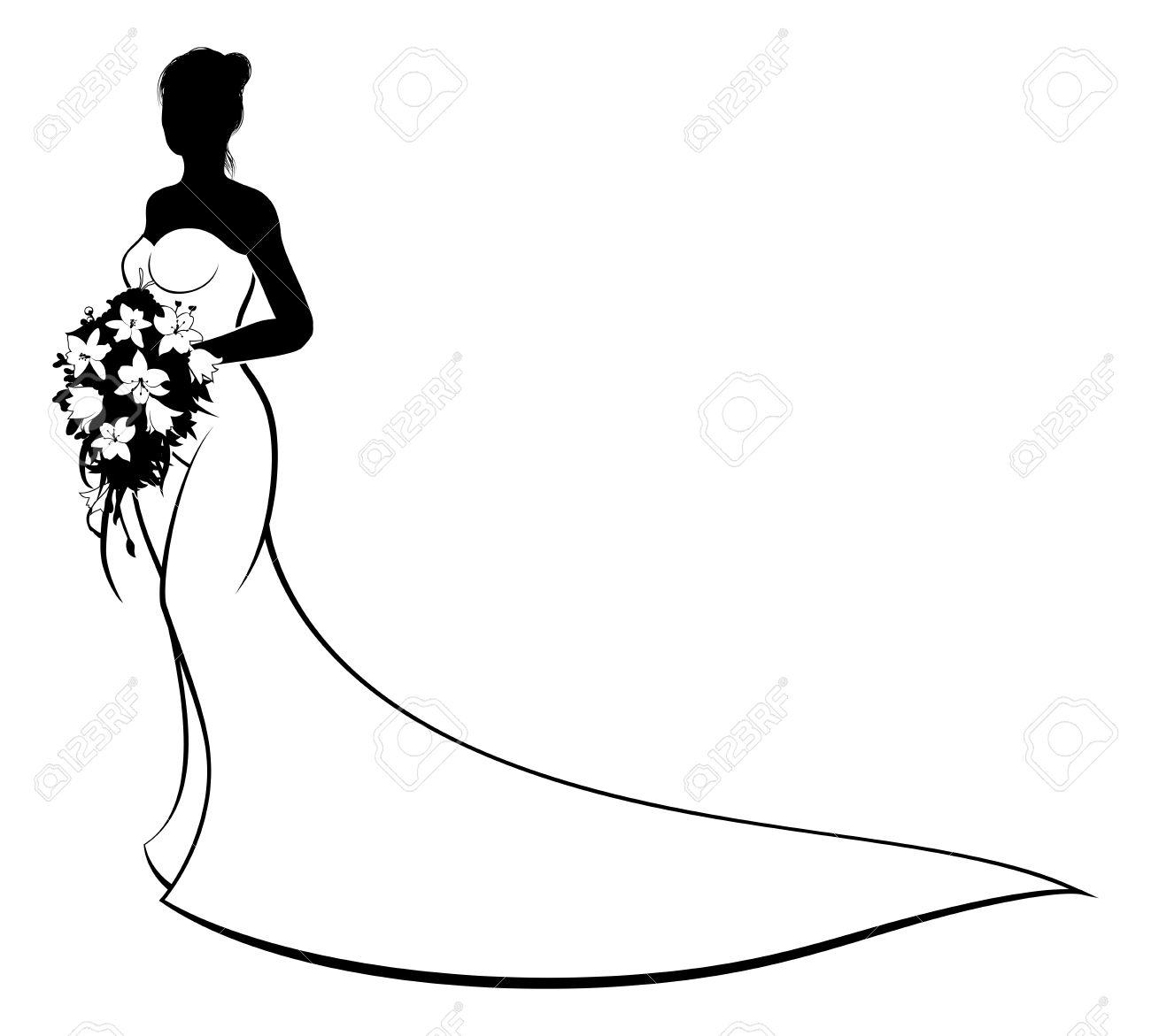 Bride Silhouette Clipart.